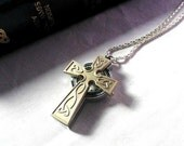 Crucifix Watch Necklace: Celtic Cross Silver Pocket Watch Pendant Christian Religious Easter Jewelry