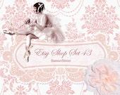 Etsy Shop Banner - Vintage ballerina, pink bow and tutu on damask, premade banners - Set 043
