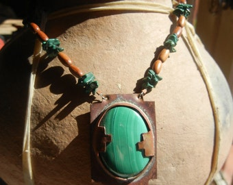 Native American Copper pendant with large malachite stone on malachite and wood bead necklace