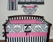 Sofia Baby Girl Crib Bedding 5pc Set, Pink , White and  Black, Damask