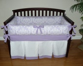 Lilac (Purple) Osborne Damask  Custom Baby Girl Crib Bedding3- 5 pc. Set.(Promotional Price)
