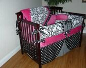 Hot Pink/Black Baby  Girl Bedding 5PC Set, Damask Black /White, Custom  Made.
