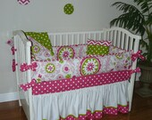 Custom  Crib Baby Bedding  5pc Set , Hot Pink,   White & Green Polka Dots,  Strawberry Field, Ruffle