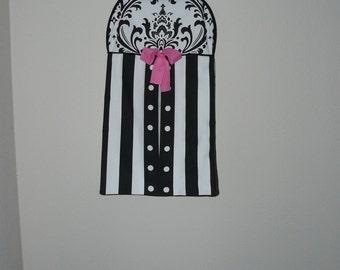 Diaper stacker, black& white stripe, damask