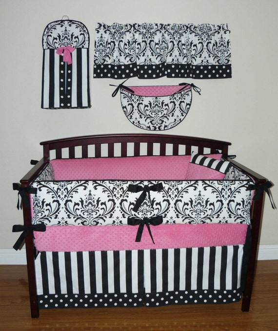 Pink and black baby bedding sets sofia baby girl crib bedding 5pc set