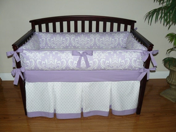 Lilac (Purple) Osborne Damask  Custom Baby Girl Crib Bedding 3- 5 pc. Set.( Promotional price for 5 pc )