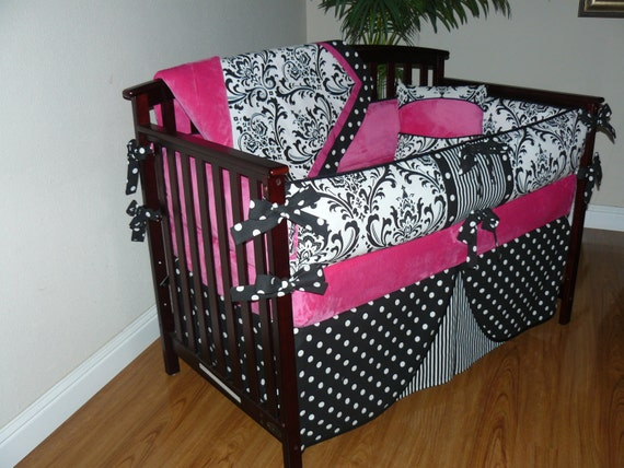 Hot pink baby girl bedding 5pc set damask black and white custom made