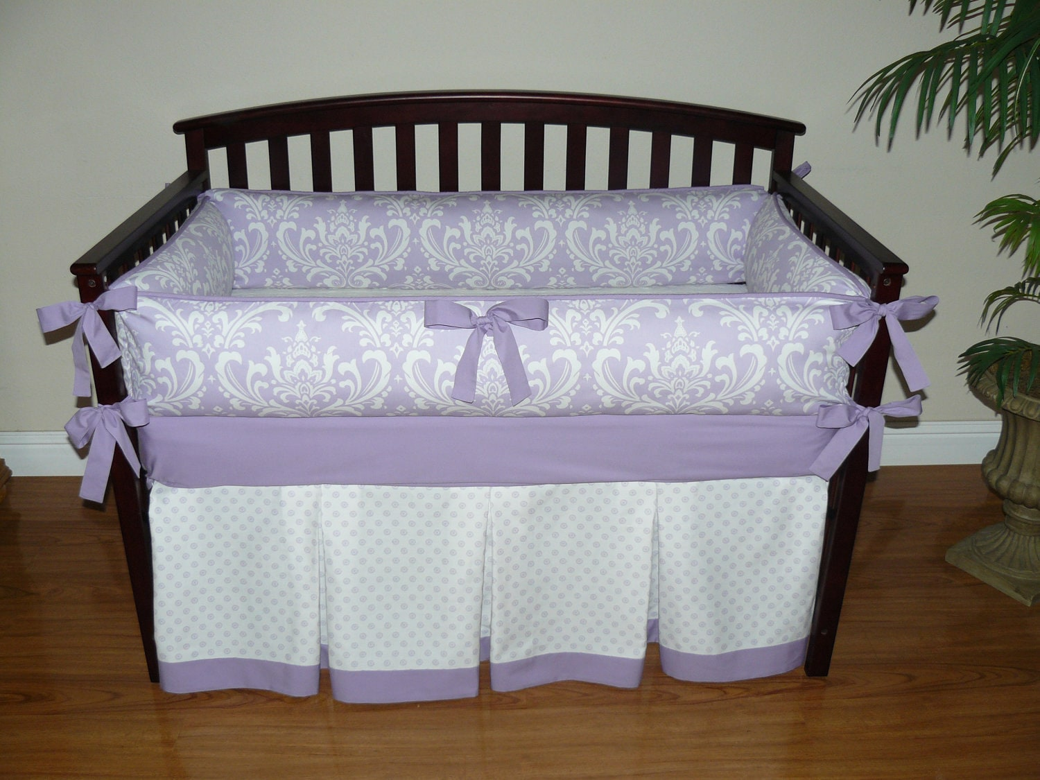 lilac purple osborne damask custom baby girl crib bedding. Black Bedroom Furniture Sets. Home Design Ideas