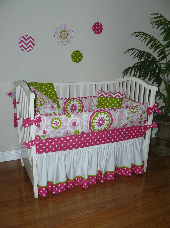 Custom Crib Baby Bedding 5pc Set Hot Pink White Amp Green