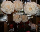 """STUNNING - 7"""" Pomander/Kissing Flower Balls with Pearls & Real Crystals"""
