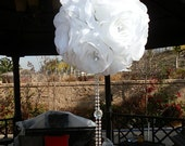 "BRIDE SPECIAL ""10-White Silk Flower balls with Hanging Crystals"""