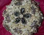 SALE -BOUQUET - Elegant White Pearl & Rhinestone Gem Bridal Bouquet