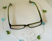 Crystal and Silver glasses chain - Free Shipping