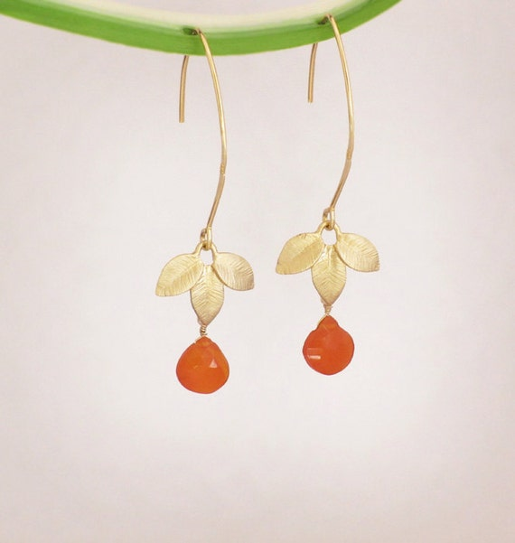 Faceted carnelian briolette gold leaves and 16K Gold Vermeil Earrings