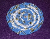 Blue and Yellow Plaid and White Lace Flower Hair Clip With Rhinestone