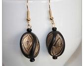 Black and Gold Handpainted Wood Bead Earrings