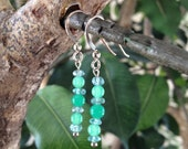 Aquamarine and Chrysoprase Earrings in Sterling Silver