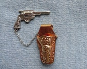 Vintage Brooch Pin Holster with Chatelaine Gun