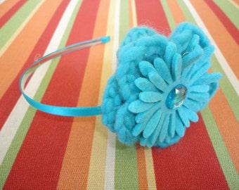 Aqua Crocheted Flower Wool Felted Headband with Aqua Jewel