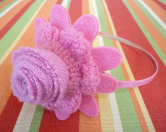 Pink Crocheted Flower Upcycled Wool Felted Headband