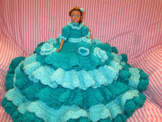 Crochet African American Victorian Bed Pillow Doll In Shades of Blue