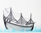 Out To Sea - Original Pen and Ink Drawing