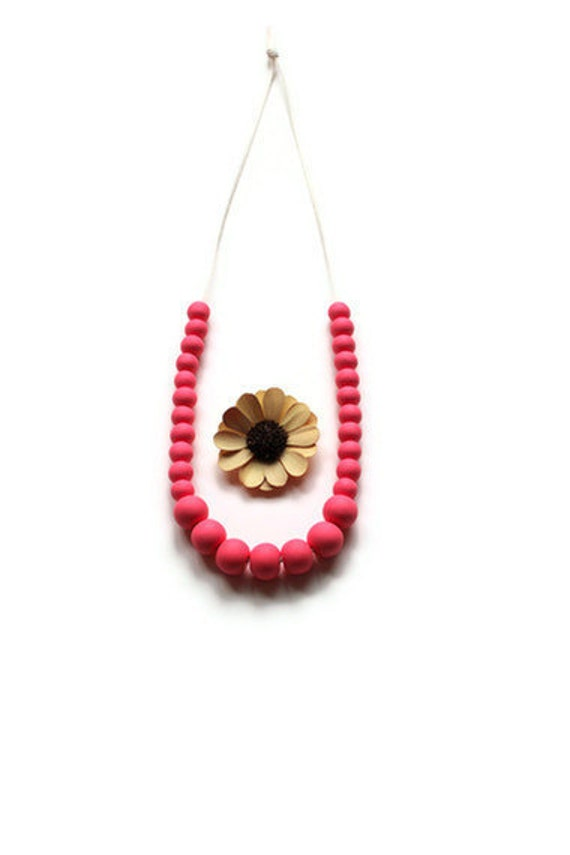 Right Round Necklace II  // Handmade Pink Rounds on Ivory Cord