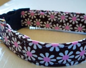 "Chocolate Brown and White & Pink Daisies Dog Collar - ""Chocolate Daisies"" - NO EXTRA CHARGE for colored buckles"