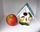 Chic handpainted Birdhouse with recycled gift card shingles