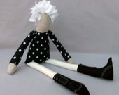 Black SPOTTY dress and button detail boots Fabric doll