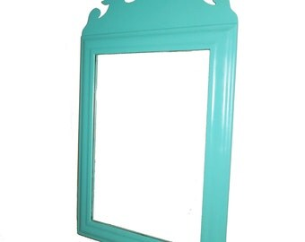 Vintage Turquoise Chippendale Mirror