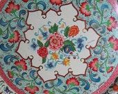 TREASURY ITEM vintage Daher tin plate. turquoise and pink floral. Made in Holland