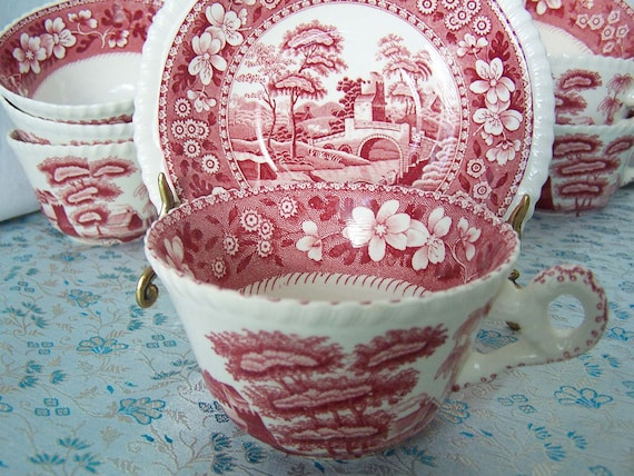 Vintage Spode's Tower Pink Tea Cup and Saucer English transferware by Copeland- old backstamp