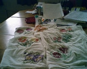 set of 7 dishtowels with flowers