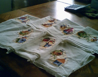 machine appliqued dish towels