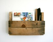 wall mount recycled wood pallet shelf for vinyl record or curio storage