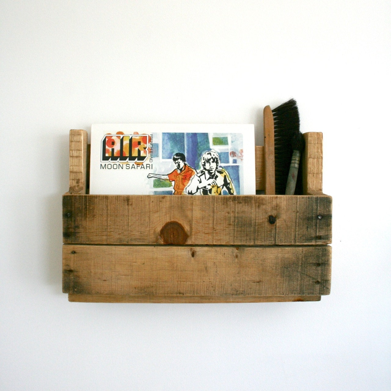 Wall Mount Recycled Wood Pallet Shelf For Vinyl Record Or