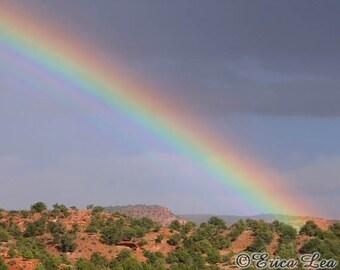 Desert Rainbow Art, landscape photography, southwest art, nature decor, fine art photography, 5x7 8x10 11x14 print