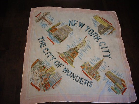 Vintage NEW YORK CITY Scarf---pre-World Trade Ctr--- Very Cool--fraying spot (see last photo)