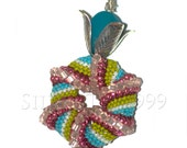 Cellini Spiral Pendant with Sea Glass and Silver Flower