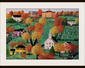 Colorful and Whimsical Folk Art Print of the Woodstock Common, Woodstock CT
