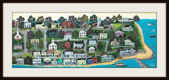 "Colorful and Whimsical Folk Art Giclee Print from a painting titled ""Stonington Borough, CT  by artist Tom Menard"