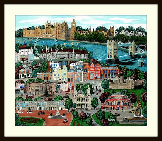 "Whimsical Folk art print of the city  of  London, England  by artist Tom Menard   ""Life in London"""