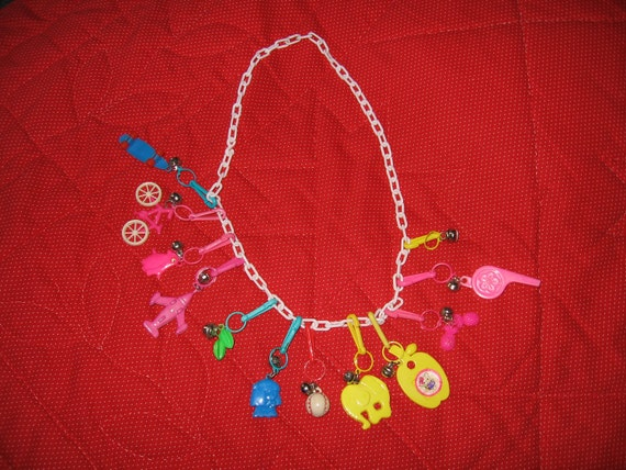 1980s plastic bell charm necklace