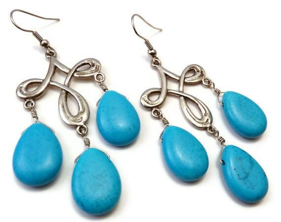Turquoise and Antiqued Silver Chandelier Earrings