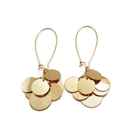 Disc Earrings - Dangle Earrings - Gold Disc Earrings with 22k Gold Plated Long Kidney Wire - Customizable