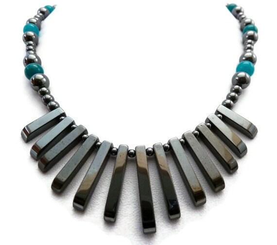 Hematite Necklace - Teal Agate Necklace - Fringe Necklace
