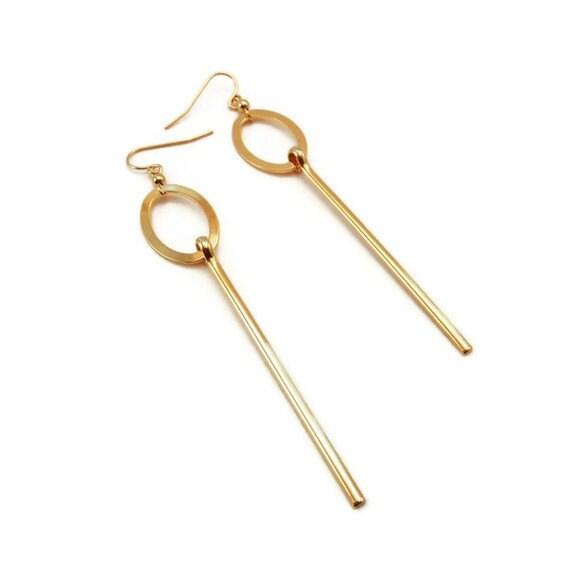 CLEARANCE - Gold Drop Earrings - Metal Earrings - Long Earrings - Stick Earrings - Geometric Earrings