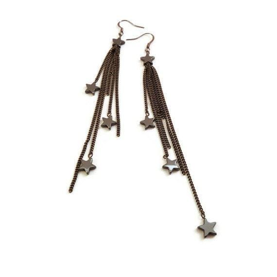 Star Earrings - Gunmetal Earrings - Hematite Earrings - Chain Earrings