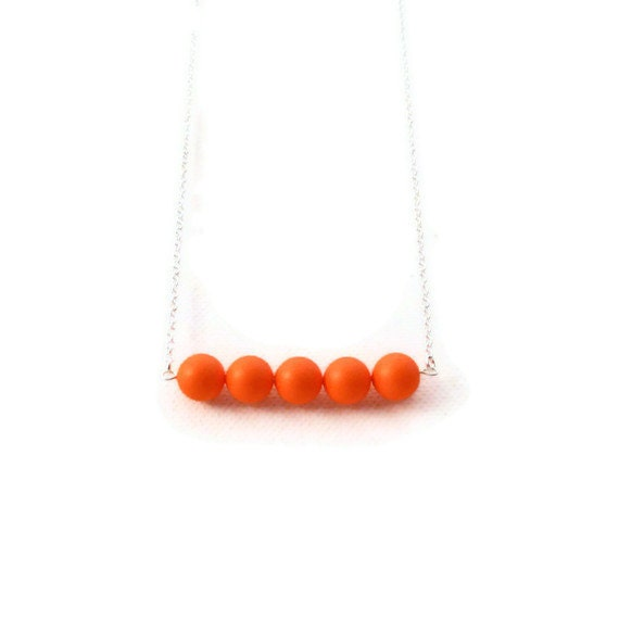 Neon Orange Necklace - Swarovski Pearl Necklace - Swarovski Crystal Necklace - Orange Pearl Necklace - Line Necklace